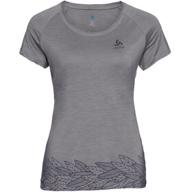 Odlo BL Concord SS Top Crew Neck Women grey melange-leaves on waist print SS19